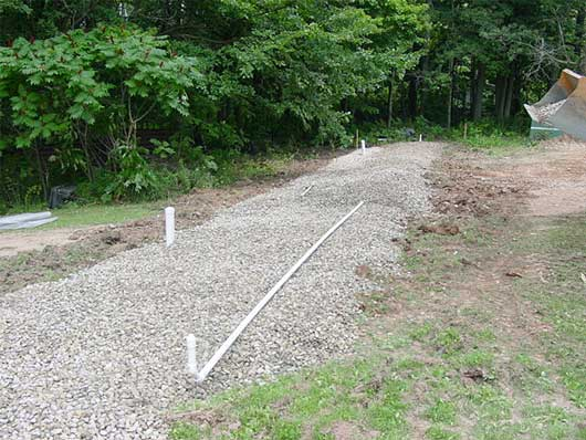 Photo of new septic system at grade.