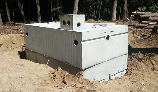 Photo of precast mid-seam septic tank.