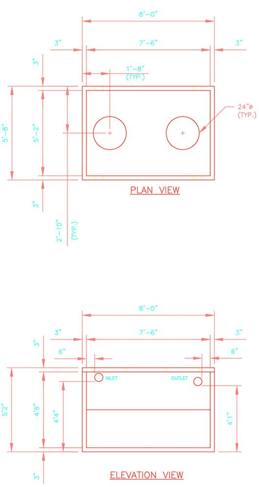 Drawing of 1000 gallon precast concrete septic tank.