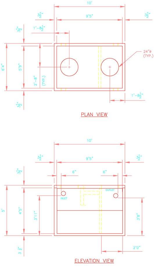 1025-275 precast concrete septic tank drawing.