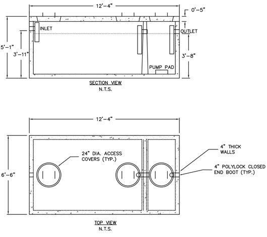 1250 350 Gallon Precast Concrete Monolithic Septic Tanks Ajfoss