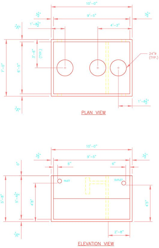 1250/500 gallon precast concrete septic tank drawing.