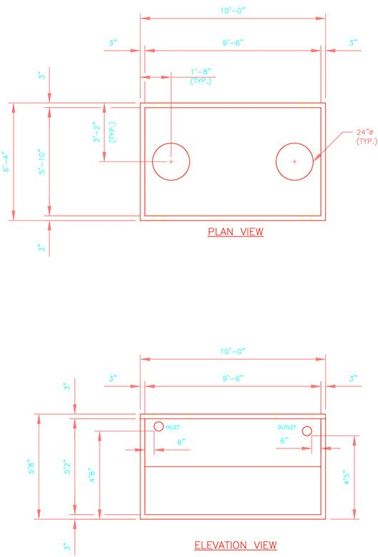 1600 gallon precast concrete septic tank drawing.