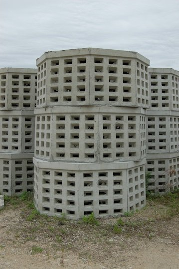 Photo of precast concrete drywells.