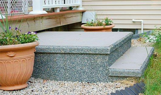 Photo of decorative precast concrete steps.