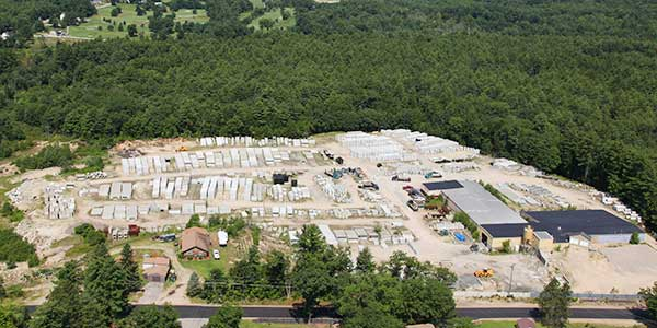 Photo of AJFoss' precast concrete lot.