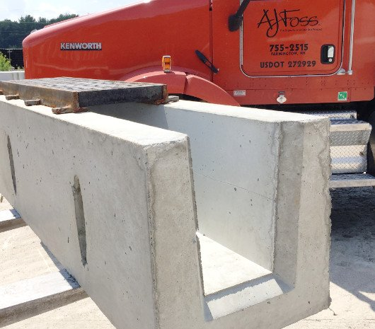 Photo of a precast concrete trench drain.