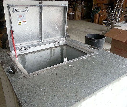 Photo of precast concrete pump box.